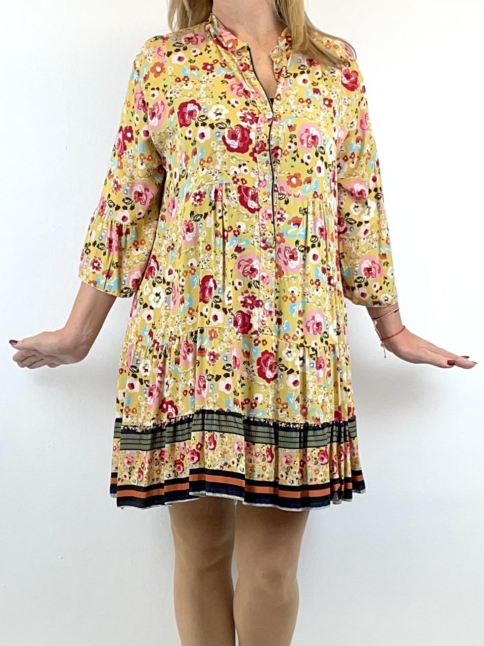 Boho-Style Tunikakleid Florales Muster