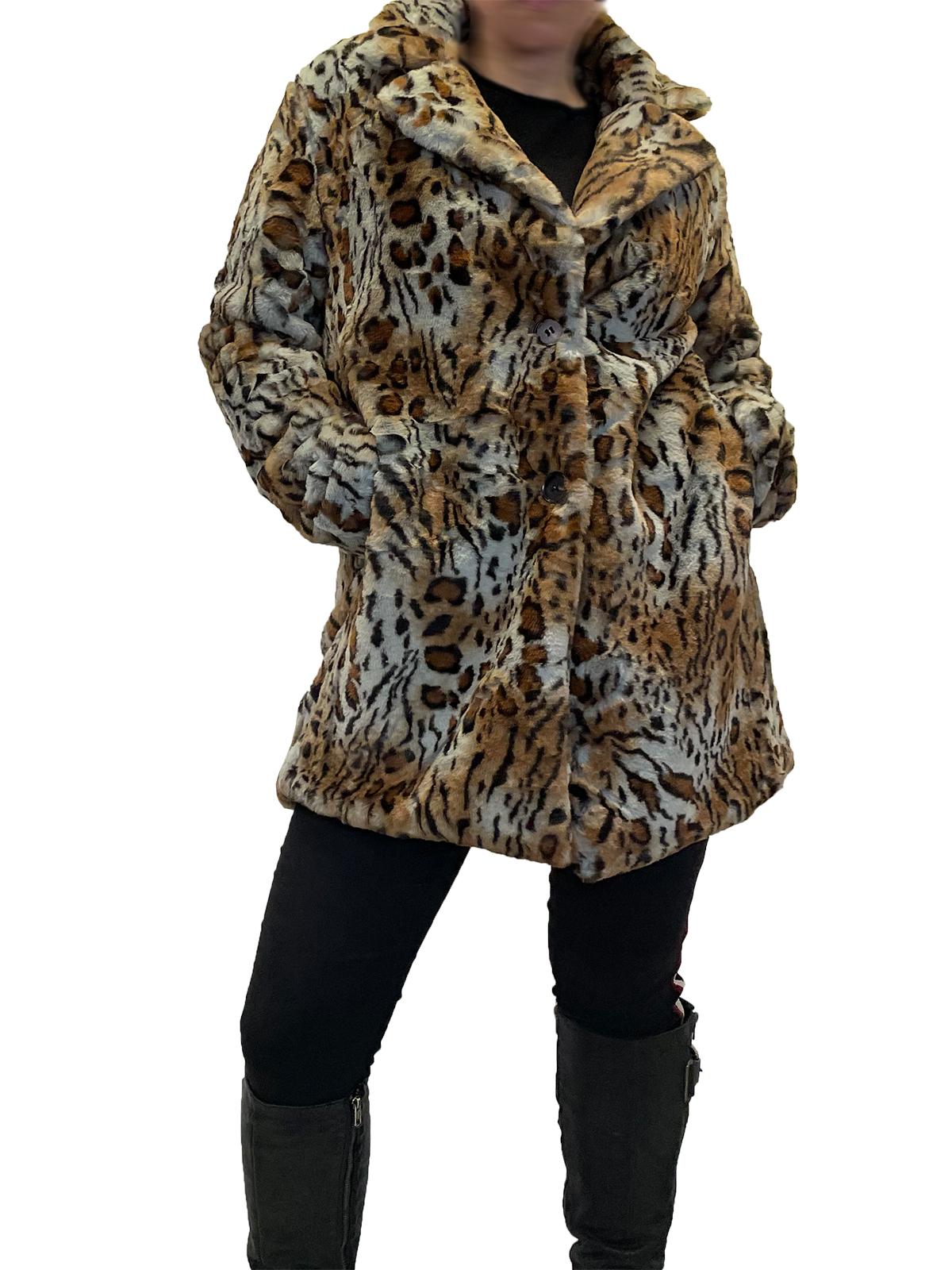 Webpelz Mantel Leoparden-Print