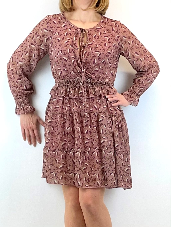 Chiffon Mini-Kleid in Altrose mit Rüschen