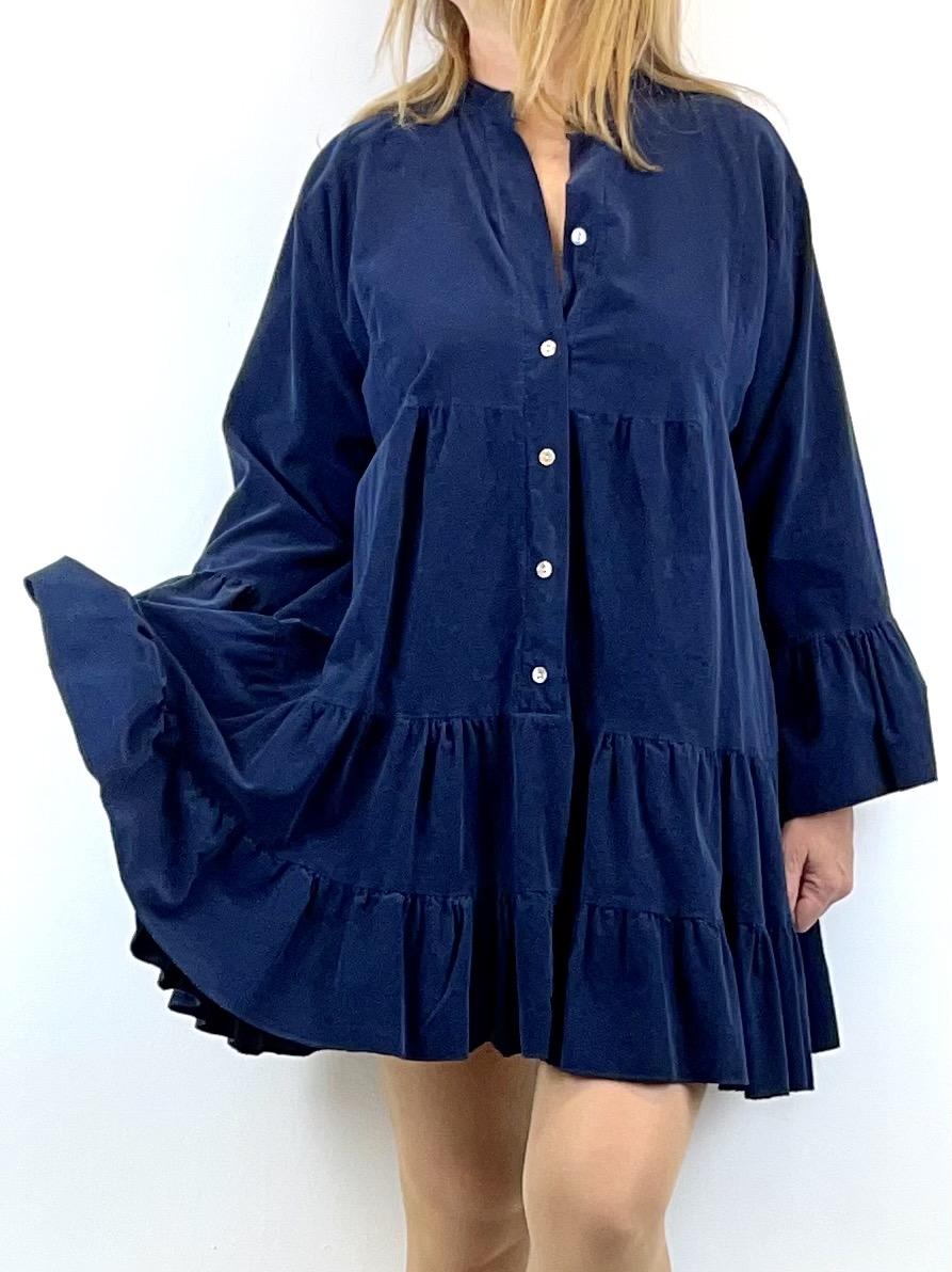 Blaues Cordkleid in Boho-Style
