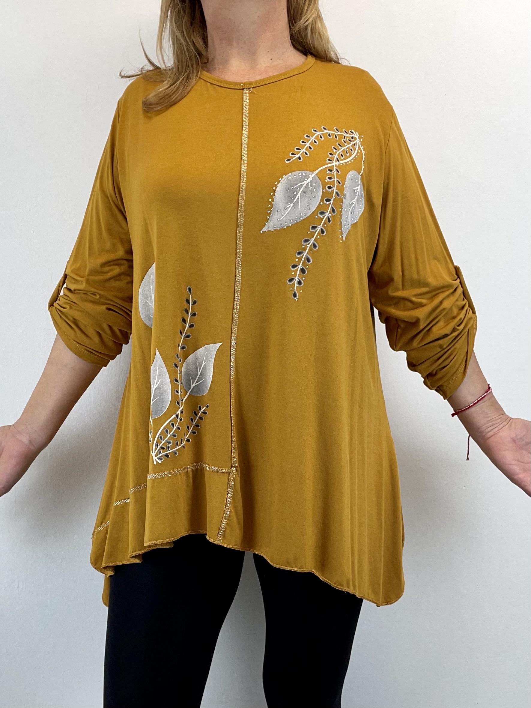 Jersey Blusenshirt mit assymetrischem Saum